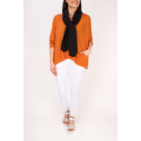 Grizas Oversized Linen Knit Top - Orange