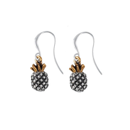 Hult Quist  Bi Colour Pineapple Earrings - Silver/gold