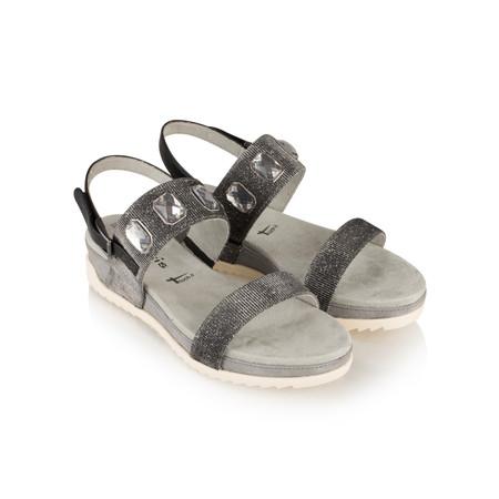 Tamaris  Imit Leather Black Glam Sandal - Black