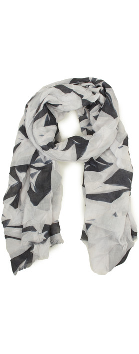 Sandwich Clothing Abstract Leaf Print Scarf Almost Black