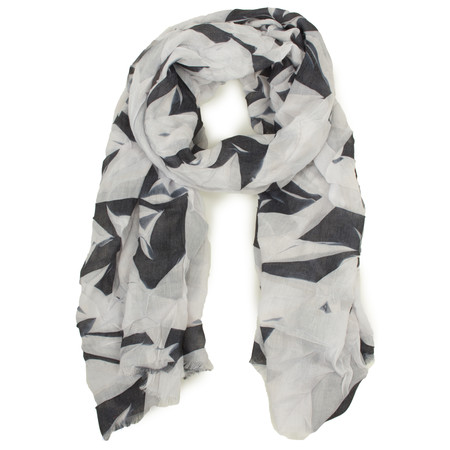 Sandwich Clothing Abstract Leaf Print Scarf - Black