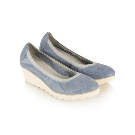 Marco Tozzi Elasticated Leather Wedge Shoe - Blue