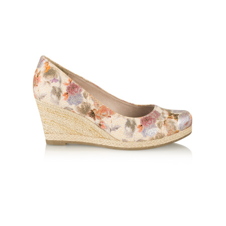 Marco Tozzi Floral Wedge Espadrille Shoe - Beige