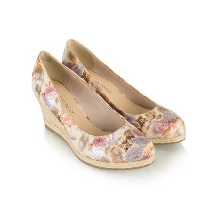 Marco Tozzi Floral Wedge Espadrille Shoe - Beige