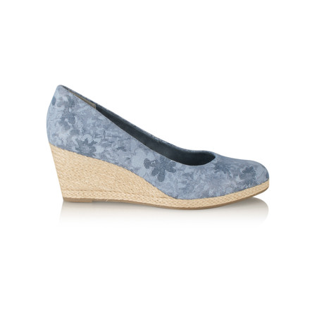 Marco Tozzi Floral Leather Wedge Espadrille Shoe - Blue