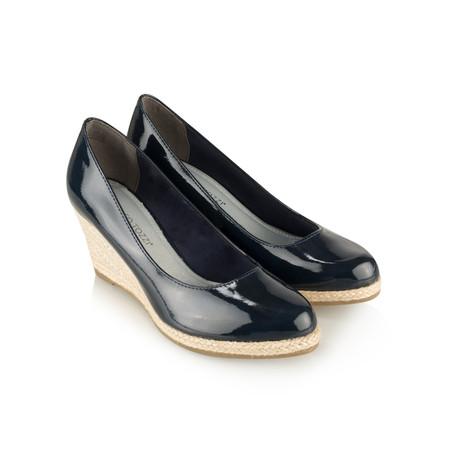 Marco Tozzi Patent Wedge Espadrille Shoe - Blue