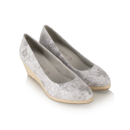 Marco Tozzi Floral Leather Wedge Espadrille Shoe - Grey