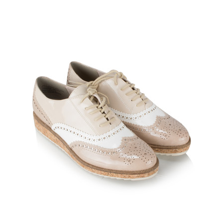 Marco Tozzi  Patent Combi Brogue Lace Up - Beige
