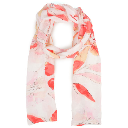 Masai Clothing Watercolour Floral Along Scarf - Red