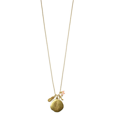 Hult Quist  Long Palm Leaf Necklace - Metallic