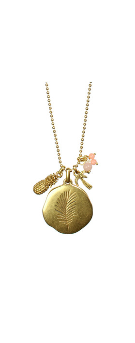 Hult Quist Long Palm Leaf Necklace Gold