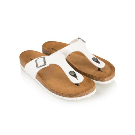 Tamaris  Birki Toe Post Patent Sandal - White