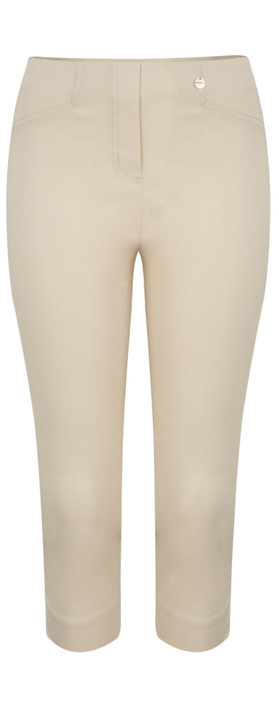 Robell Trousers Rose 07 Slimfit Cropped Trouser Beige