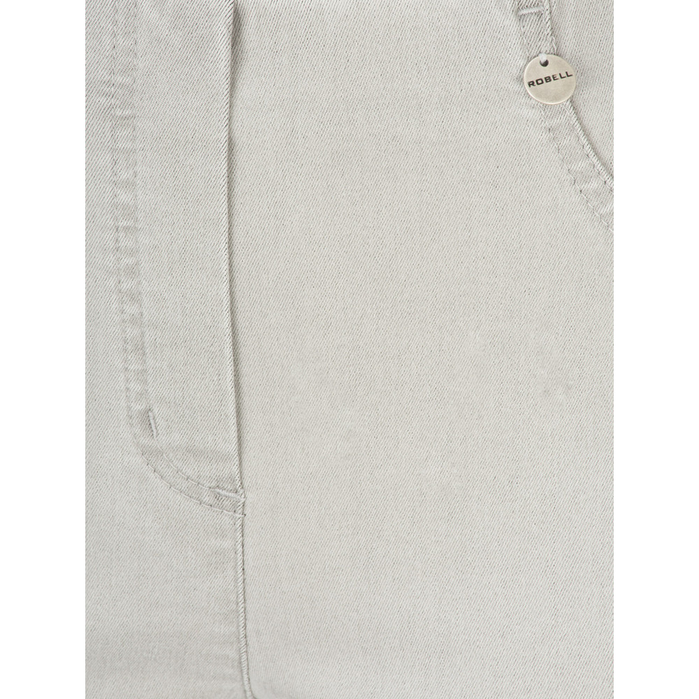 Robell Bella 09 Light Grey Ankle Crop Jean with Cuff Light Grey