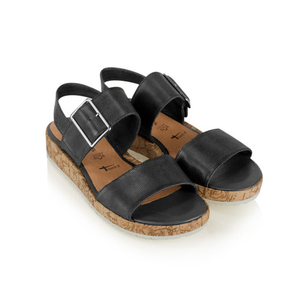 Tamaris  Leather Double Strap Sandal with Buckle - Black