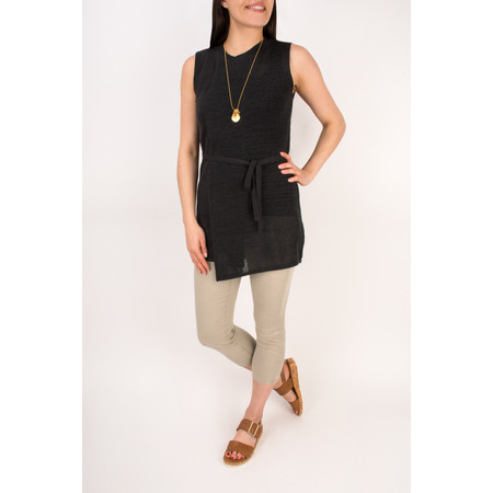 Sandwich Clothing Woven Sleeveless Top With Waist Tie - Black