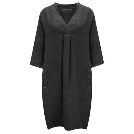 Sandwich Clothing Linen Tunic Dress - Black
