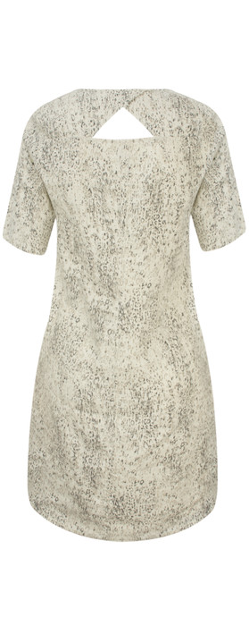 Sandwich Clothing Animal Print Linen Dress Faded Sand
