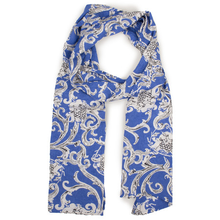 Masai Clothing Floral Crinkle Along Scarf - Blue