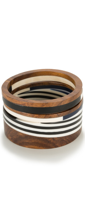 Sandwich Clothing Wooden Effect Bangle Almost Black