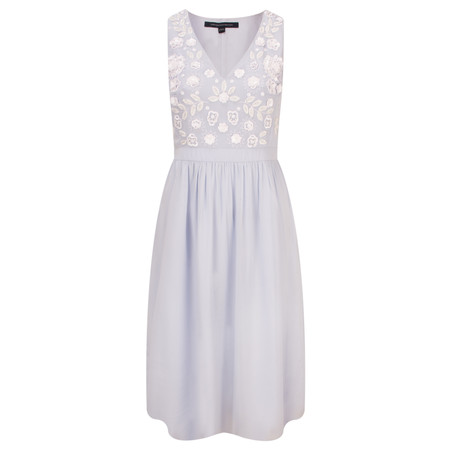 French Connection Dalia Embellished Flared Dress - Blue