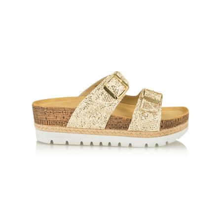 Tamaris  Birki Flatform Glitter Sandal - Gold