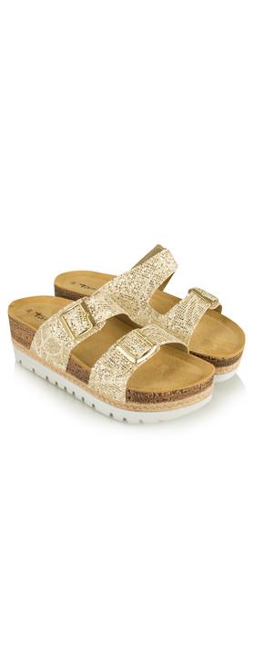 Tamaris  Birki Flatform Glitter Sandal Gold