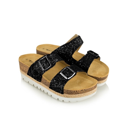 Tamaris  Birki Flatform Glitter Sandal - Black
