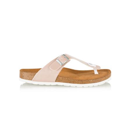 Tamaris  Birki Toe Post Metallic Sandal - Pink
