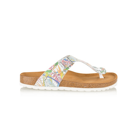 Tamaris  Birki Floral Toe Post Sandal - White