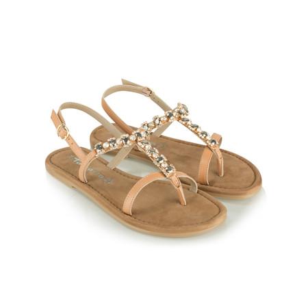 Tamaris  Leather Jewelled Sandal - Beige