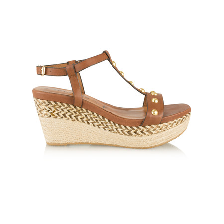 Tamaris  Leather High Wedge Sandal with Studs - Brown