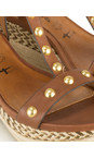 Tamaris  Cognac Leather High Wedge Sandal with Studs