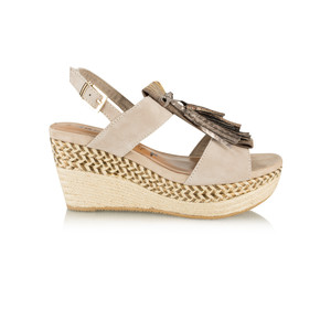 Tamaris  Leather Combi High Wedge with Fringe