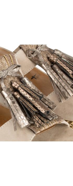 Tamaris  Leather Combi High Wedge with Fringe Antelope