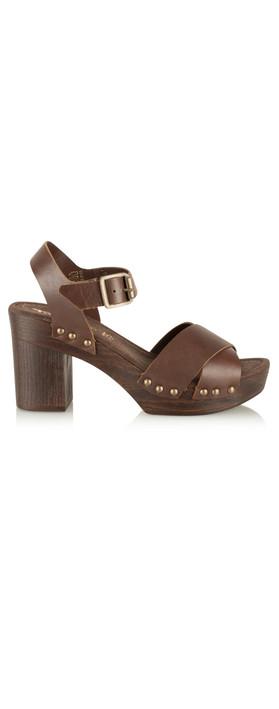 Tamaris  Leather Clog Sandal Mocca