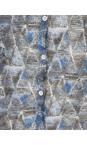 Sandwich Clothing Deep Blue Geometric Print Crinkle Cardigan