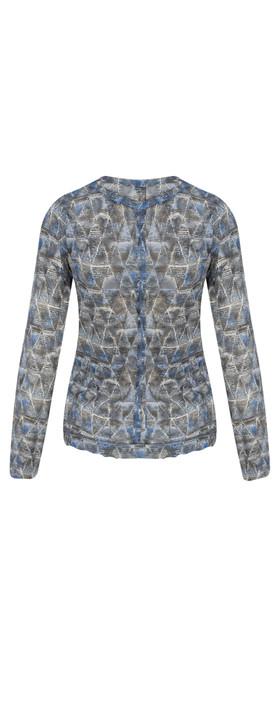 Sandwich Clothing Geometric Print Crinkle Cardigan  Deep Blue