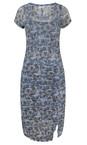 Sandwich Clothing Deep Blue Geometric Print Crinkle Dress