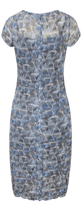 Sandwich Clothing Geometric Print Crinkle Dress Deep Blue
