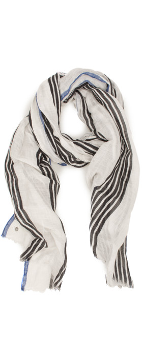Sandwich Clothing Dots and Stripes Line Print Scarf Almost Black