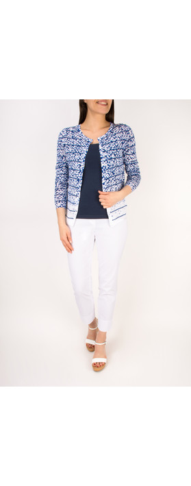 Sandwich Clothing Dots and Stripes Fitted Stripe Cardigan Deep Blue