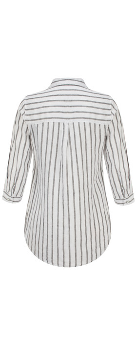 Sandwich Clothing Linen Striped Shirt Almost Black