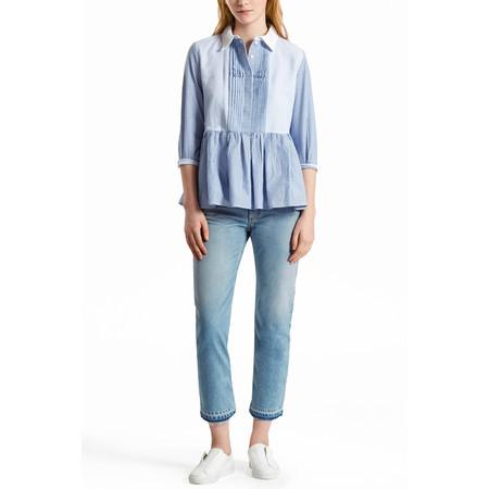 French Connection Nuru Schiffley 3/5 Sleeve Shirt - Blue