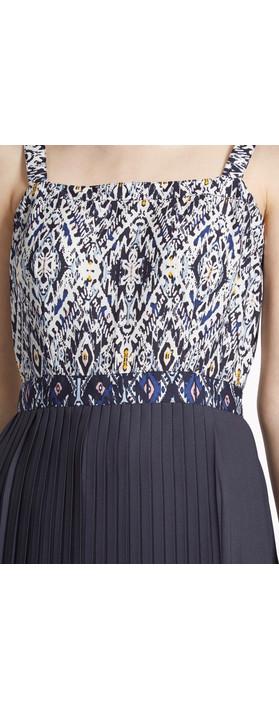 Great Plains Diamond Daze Pleated Hem Dress Petrol Combi
