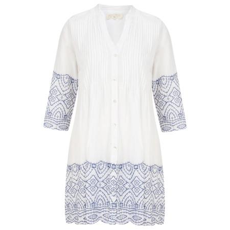 Lara Ethnics Chiara Oversized Shirt with Border Print - Blue