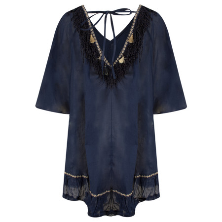 Lara Ethnics DayDream Oversized Tunic with Tassels - Blue