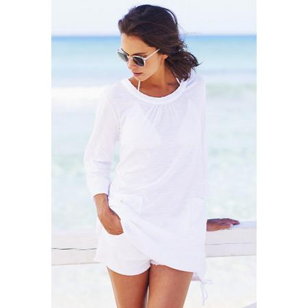 Adini Solid Slub Elle Tunic - White