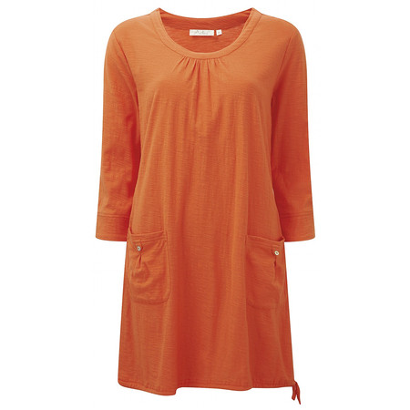 Adini Solid Slub Elle Tunic - Orange