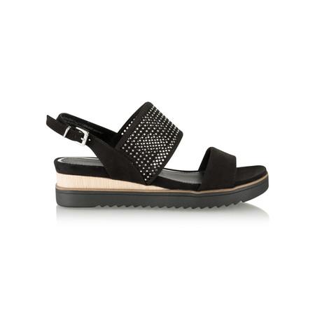 Marco Tozzi Chunky Low Wedge Sandal - Black